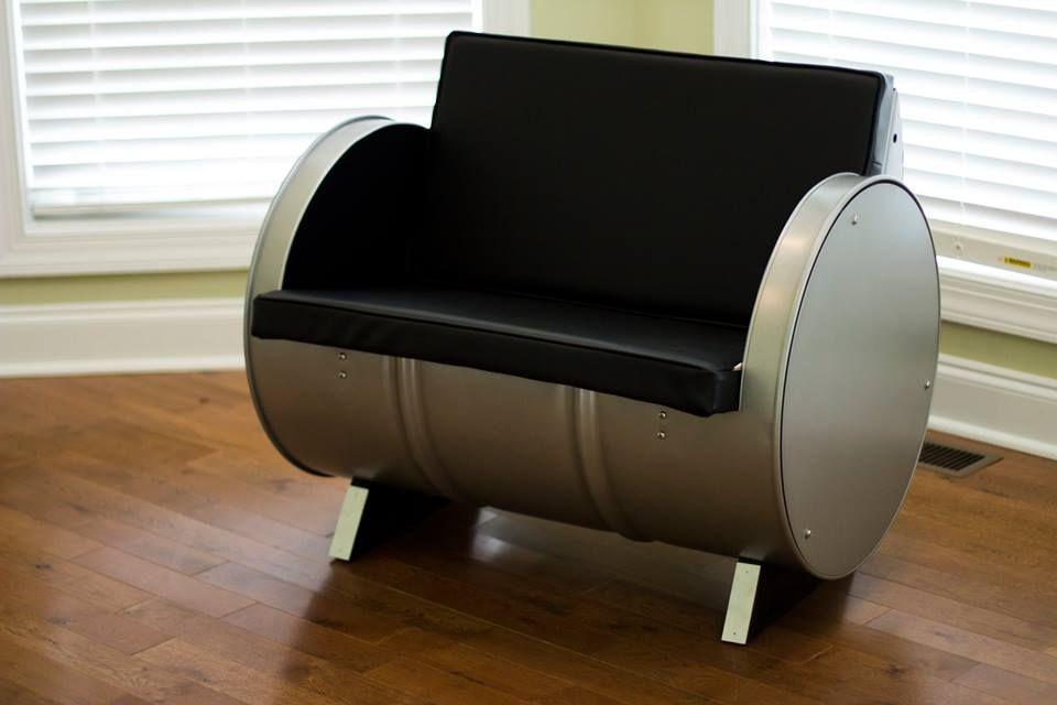 55 gallon steel drums repurposed into impressive furniture collection art rustic furniture. Black Bedroom Furniture Sets. Home Design Ideas