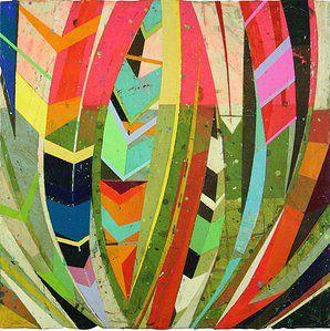 "Contemporary American & European Art | San Francisco | JASON ROHLF ""Preen"" acrylic and collage on panel"