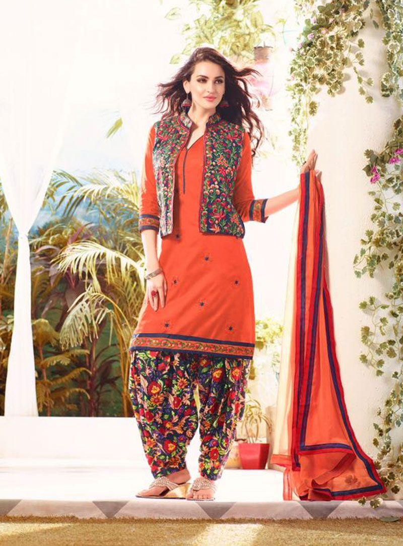 98b33cc58d Orange Cotton Punjabi Suit With Jacket 80804 Punjabi Suits, Salwar Kameez,  Harem Pants,