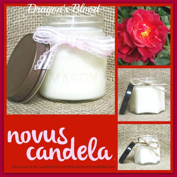 Soy Candle Mason Jar. Dragons Blood Scented Soy by NovusCandela