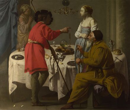 Artist Hendrick ter Brugghen  Jacob reproaching Laban for giving him Leah in place of Rachel  Artist dates 1588 - 1629  Date made 1627  Medium and support Oil on canvas  Dimensions 97.5 x 114.3 cm  Acquisition credit Bought, 1926  Inventory number NG4164