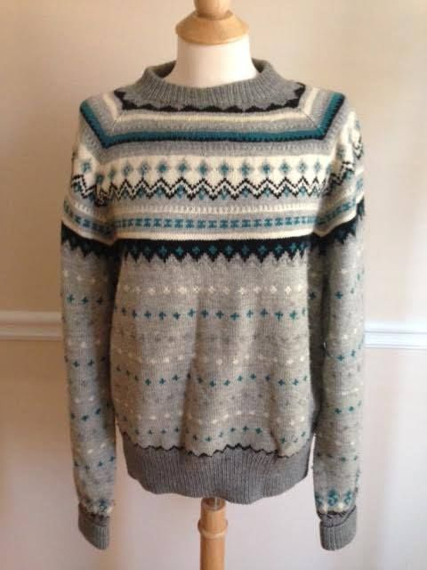 100% wool Nordic ski sweater Mens SMALL MEDIUM made in Denmark black blue gray #MadeinDenmark #Crewneck