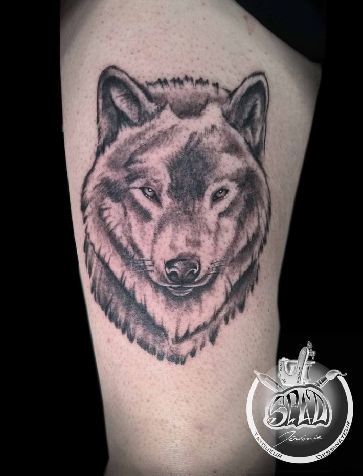 photo de tatouage t te de loup categorie style divers loup animaux tatouage tatouage. Black Bedroom Furniture Sets. Home Design Ideas