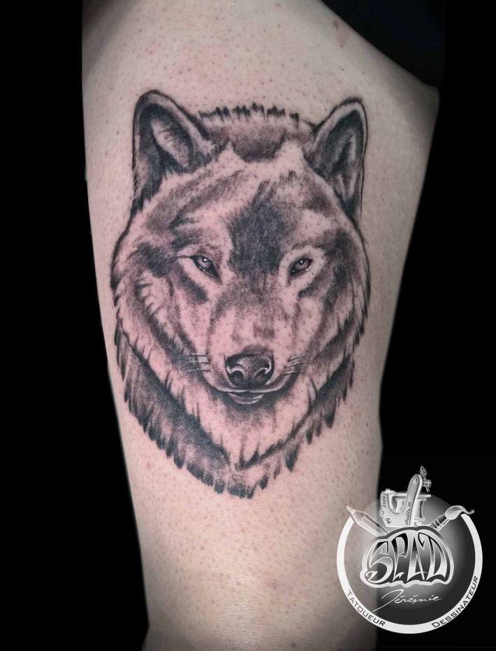 Photo de tatouage Tête de Loup categorie Style Divers Loup/Animaux/