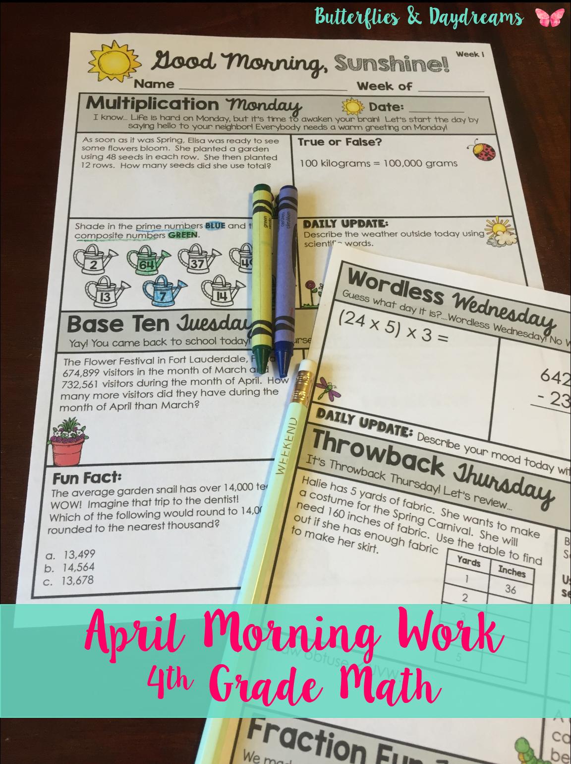 Math Morning Work 4th Grade April I Distance Learning I Google Slides Math Morning Work Fun Fractions Morning Work [ 1539 x 1152 Pixel ]