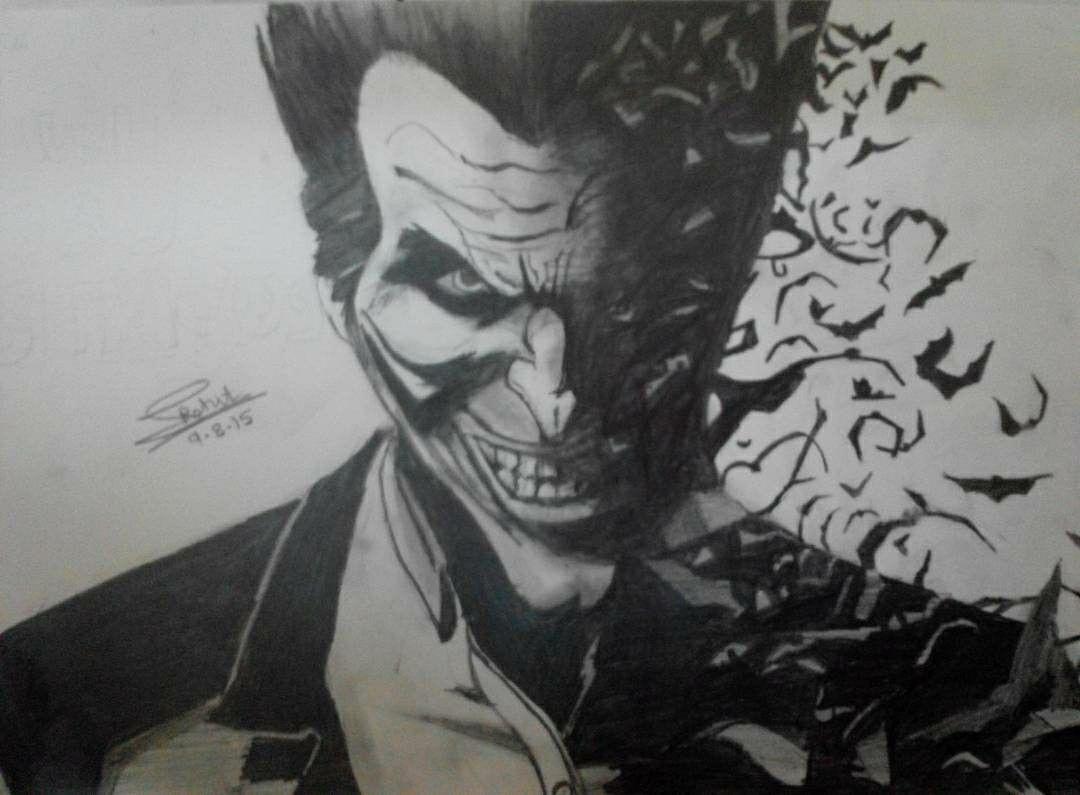 Joker Scribble Drawing : Joker pencil sketch by me batman vs villian