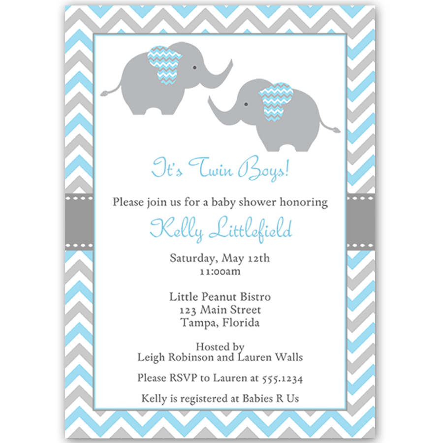 Chevron Elephant Blue Twins Baby Shower Invitation Baby Shower
