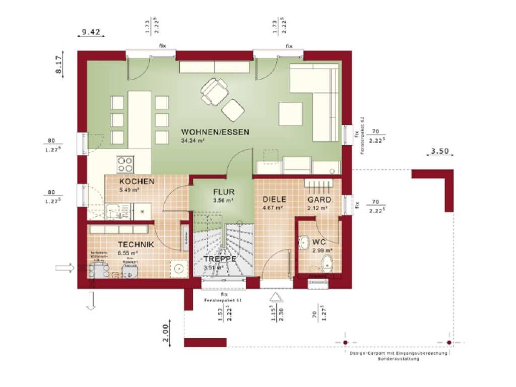 Grundriss EINFAMILIENHAUS * Haus Edition 1 V2 Bien Zenker ...