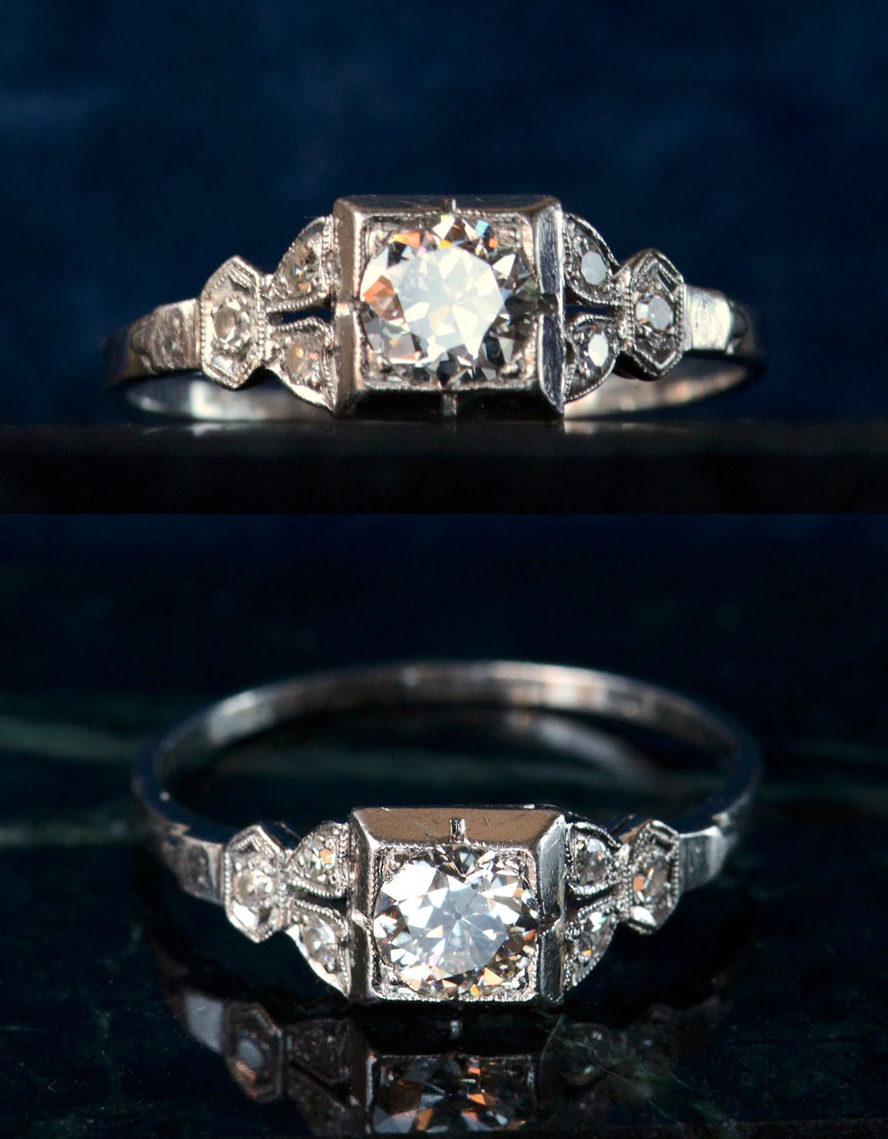 An all original 192030s Art Deco engagement ring in