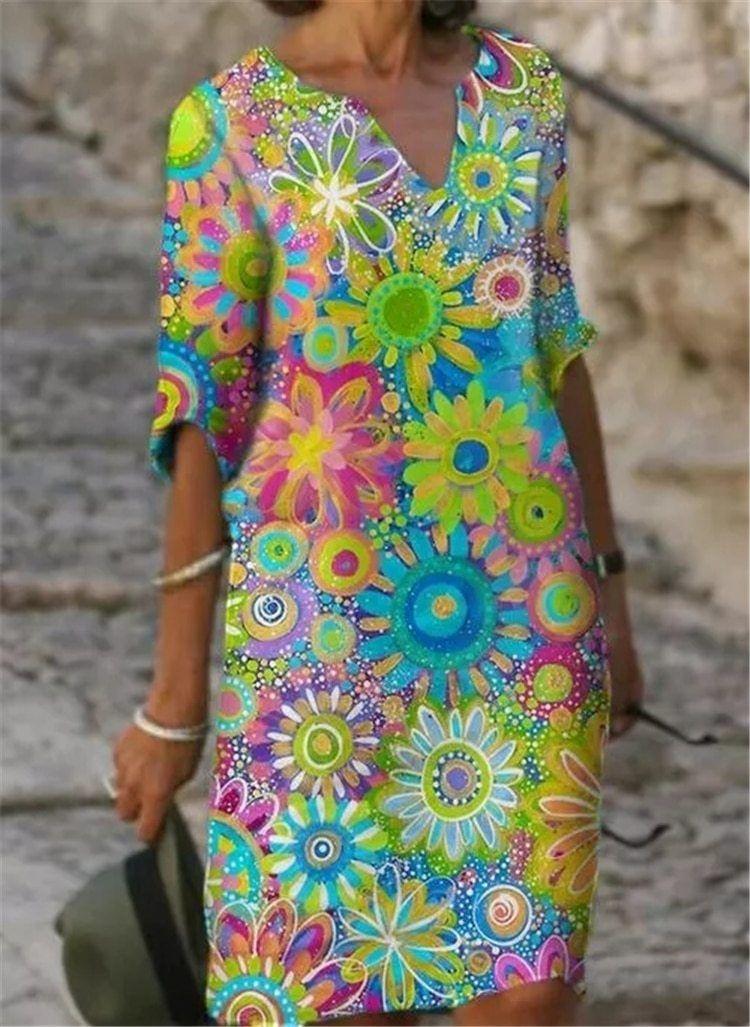Photo of fashion women elegant  dress temperament plus size Casual dress printed loose – Beige / XL