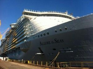 Allure of the Seas in drydock at the Navantia Shipyard in