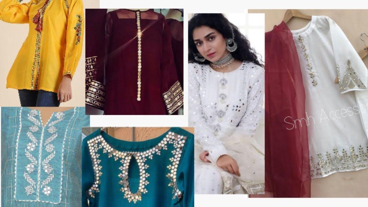 Mirror work kurti designs/ stylish and beautiful mirror ...