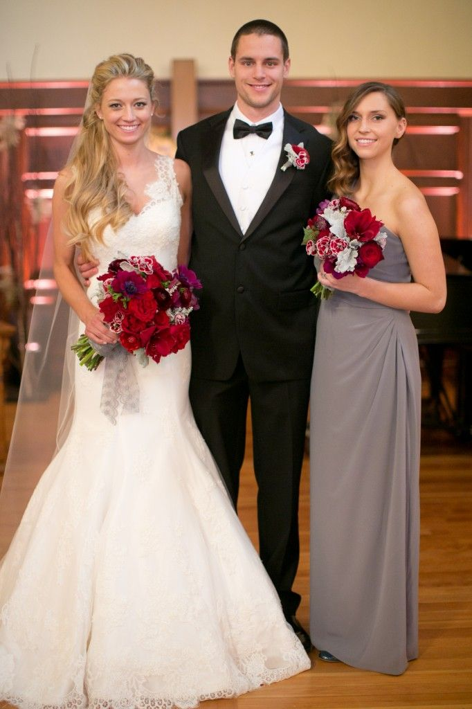 bride and groom with bridesmaid in grey dress After Six Style 6646 ...