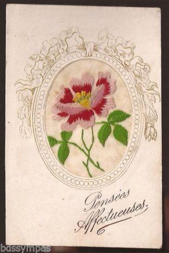 Cpa Fantaisie Brodee Pensees Affectueuses Belle Fleur Rouge En 1923