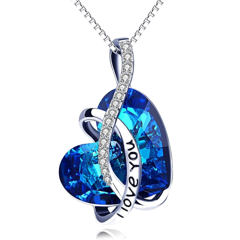 Anniversaire Anniversaire Cadeau Pour Femmes Filles Femme Mother Love Cristal collier bleu