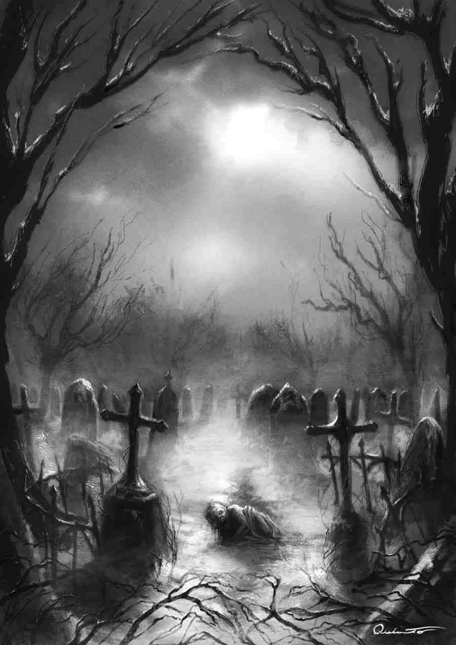Cemetery Creepy Graveyard Drawings
