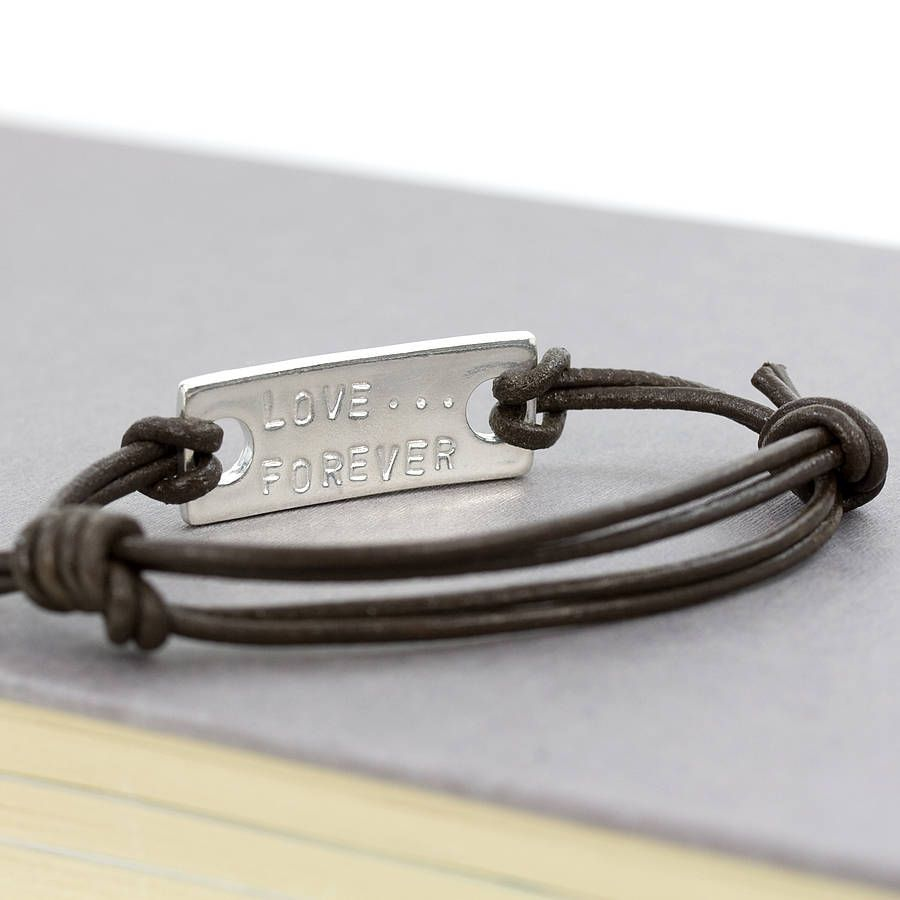 Men S Personalised Forever Leather Bracelet