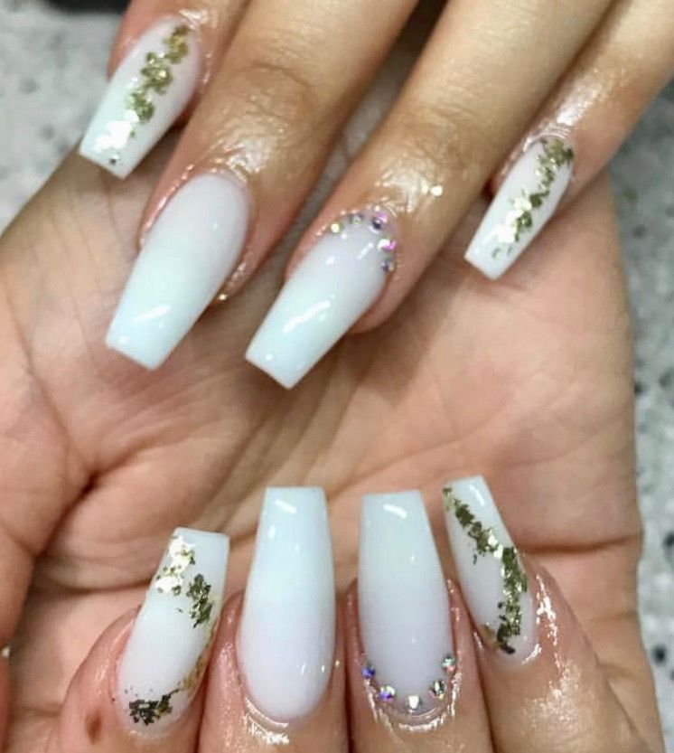 Off White Coffin Nails With Gold Flakes And Rhinestones White Nails With Gold White Coffin Nails Gold Nails