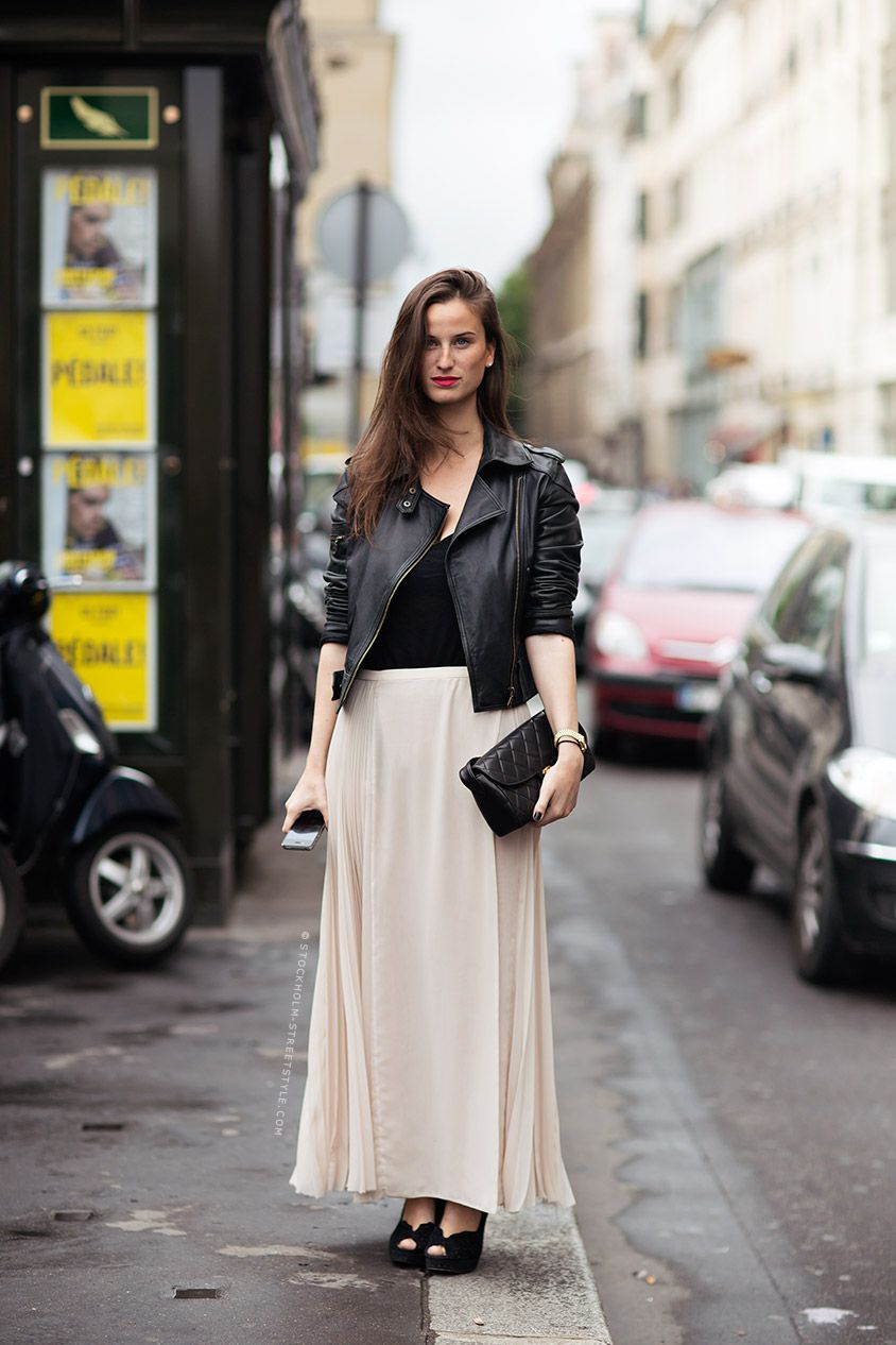 Love a moto and a pale maxi. Carolines Mode | StockholmStreetStyle