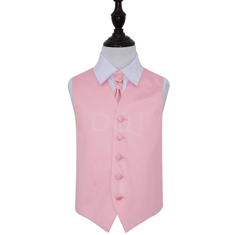 Boy\'s Baby Pink Plain Satin Wedding Waistcoat & Cravat Set