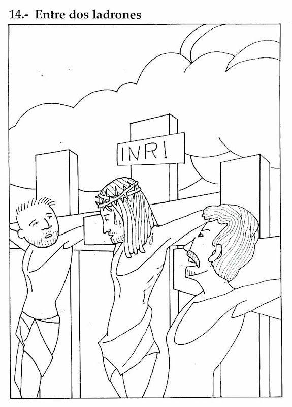 Pinto Dibujos: Jesús y los dos ladrones – dibujo para colorear ...