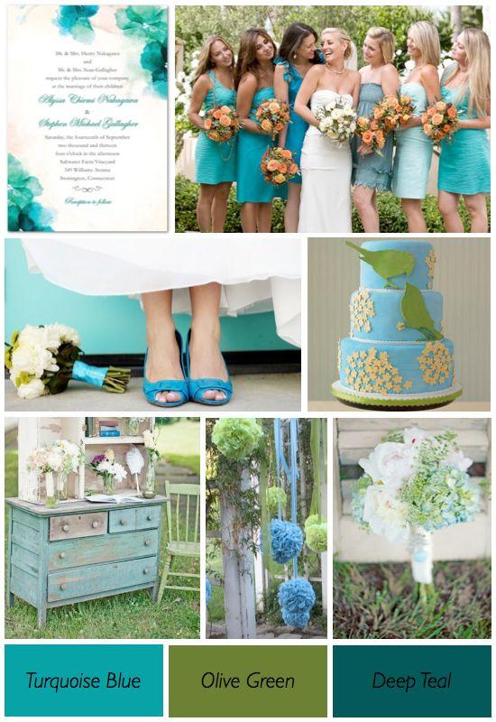 Turquoise Blue Olive Green Wedding