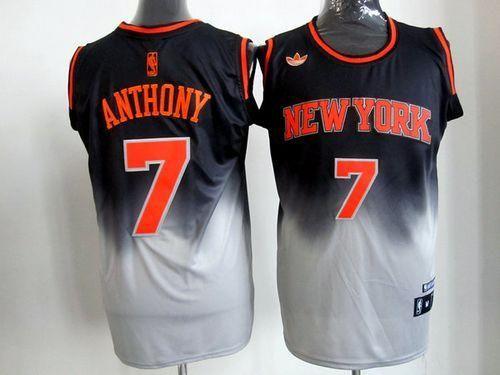 sports shoes be894 929ff Knicks #7 Carmelo Anthony Black/Grey Fadeaway Fashion ...