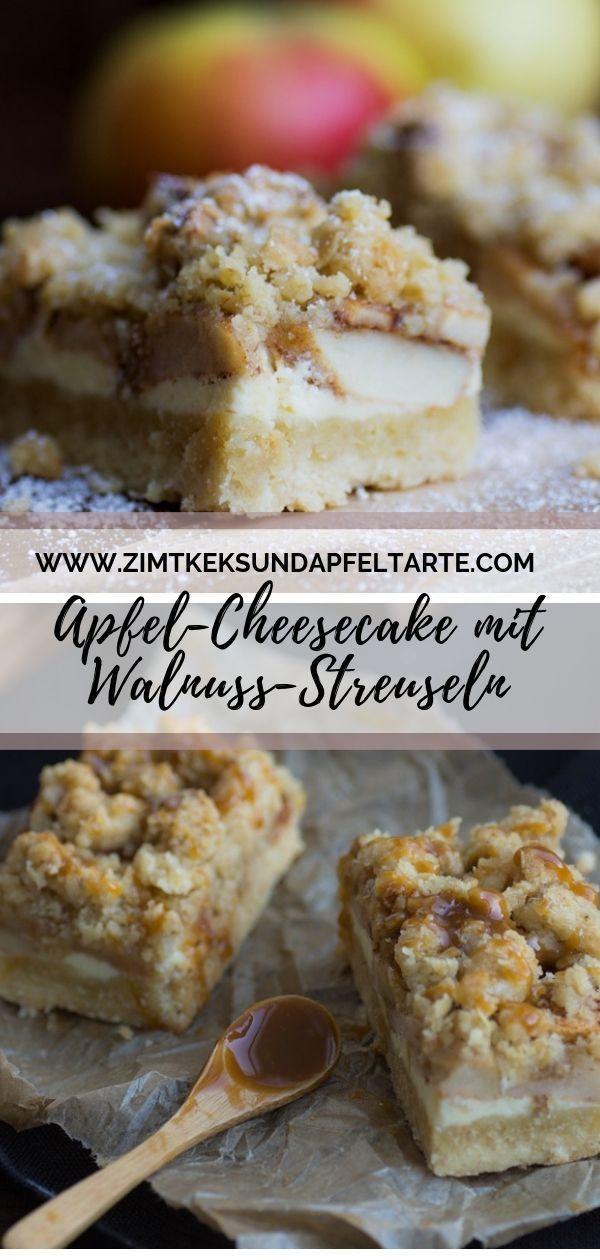 Apfel-Cheesecake mit Walnuss-Streuseln und Karamell-Sauce.... Ein wundervolles Rezept für die Herbst- und Winterzeit, ganz einfach zu backen. Cremiger Cheesecake geht ohnehin immer, wenn er dann noch von leckeren Streuseln mit Walnüssen getoppt