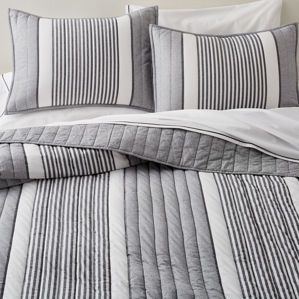 Lauro Full Queen Grey Striped Quilt In 2019 Striped Quilt Striped Bedding Pillow Shams