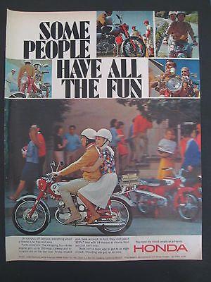 1966 Original Vintage Honda Motorcycle Ad Look Magazine Couple On Campus