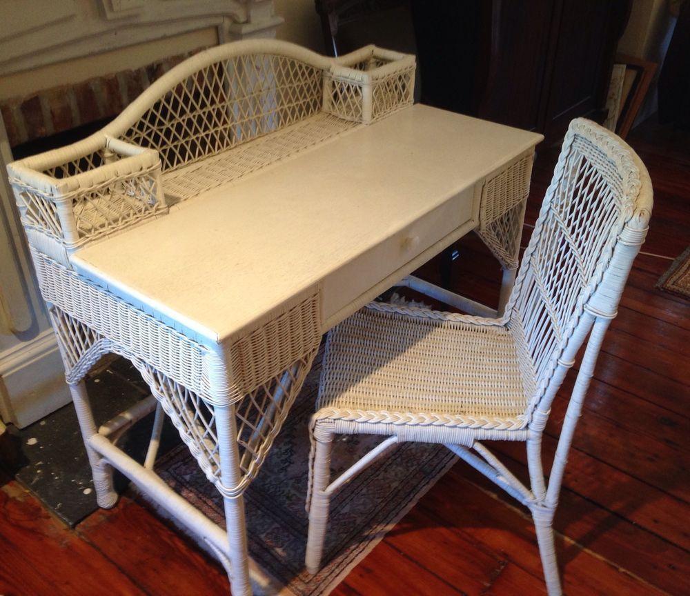 Wicker Desk Chair Mid Century White | eBay - Wicker Desk Chair Mid Century White EBay MCM Chairs Mid