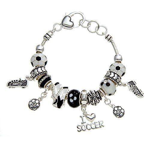 Black and White Silvertone Soccer Theme Bead Charm Bracelet