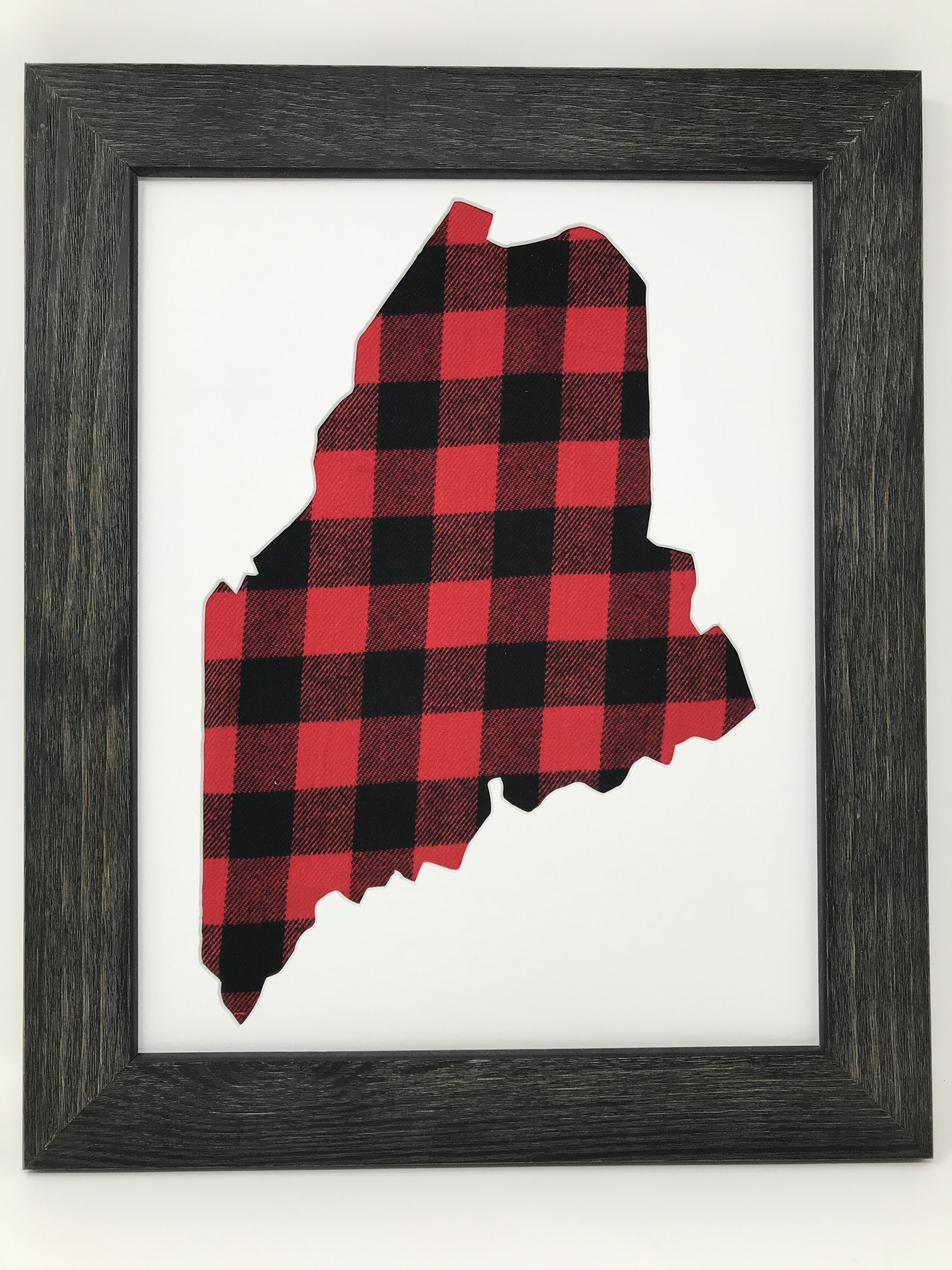 rustic black wood frame. Rustic Black Solid Wood Frame With Maine In Buffalo Plaid R