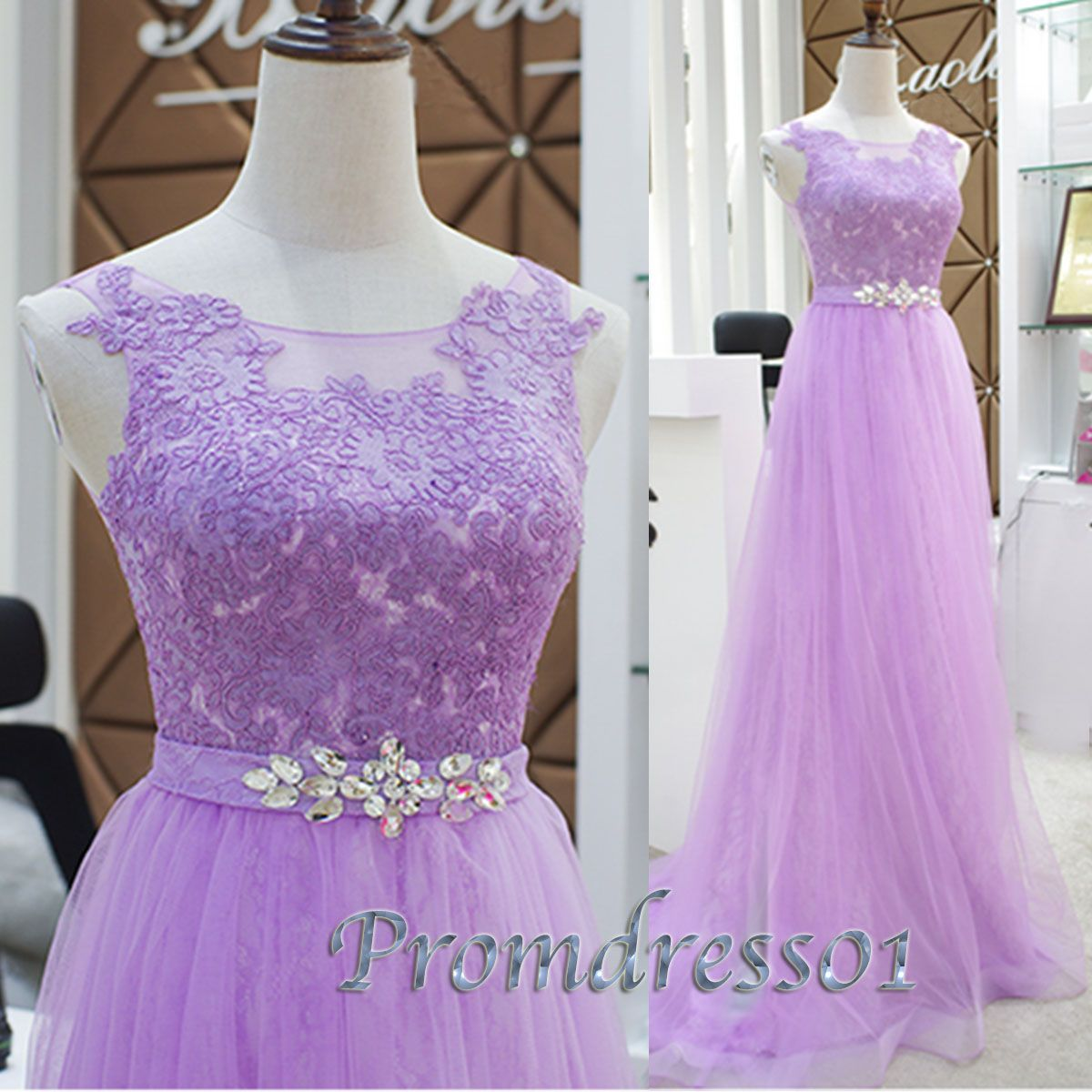 light purple lace tulle sequins long prom dress for teens ball