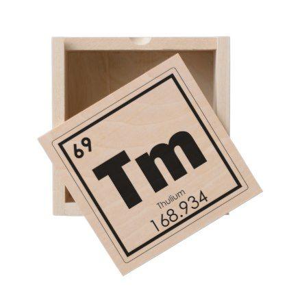 Thulium chemical element symbol chemistry formula wooden keepsake box - home gifts ideas decor special unique custom individual customized individualized