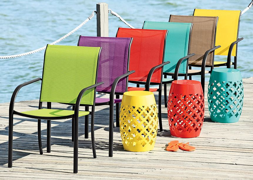 Customize your deck or patio with a palette of colorful chairs! Newport  Sling Stack Chairs - Customize Your Deck Or Patio With A Palette Of Colorful Chairs