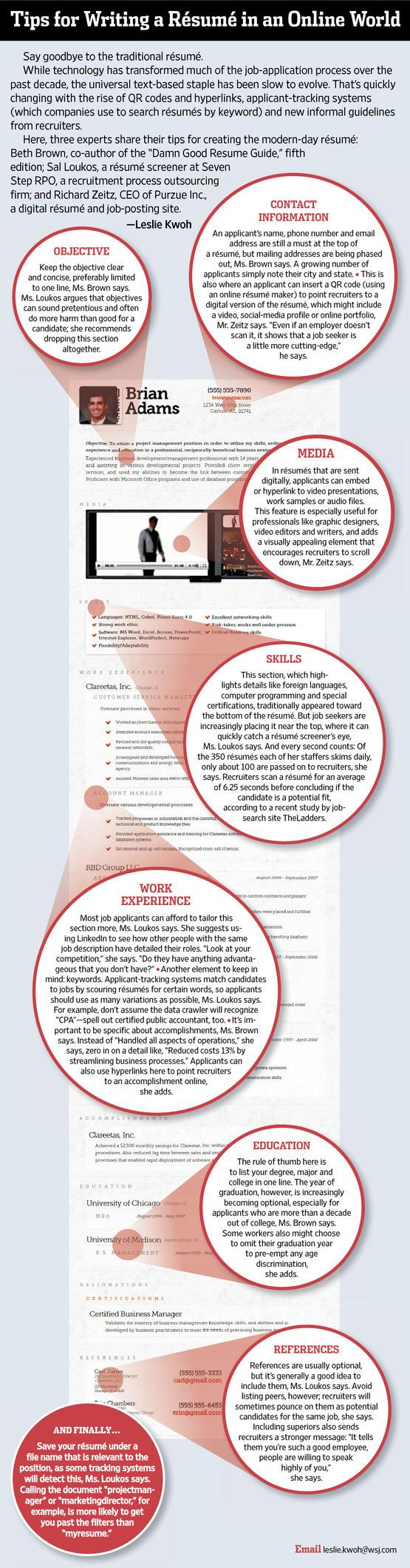 WSJ Whose Résumé Was That? Job search, Resume tips