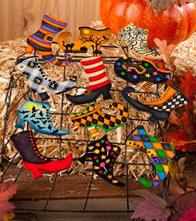 Halloween Ornaments Witches Shoes Boots To Paint Trick