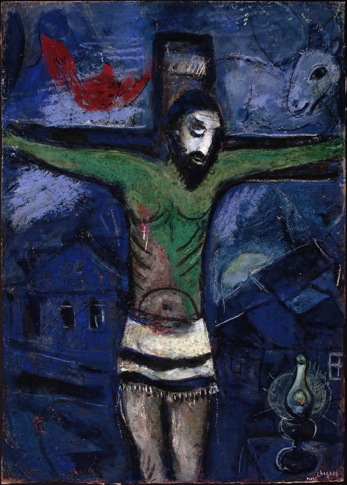 Marc Chagall - 1948, Le Christ dans la nuit / Christ in the Night. Jewish Museum