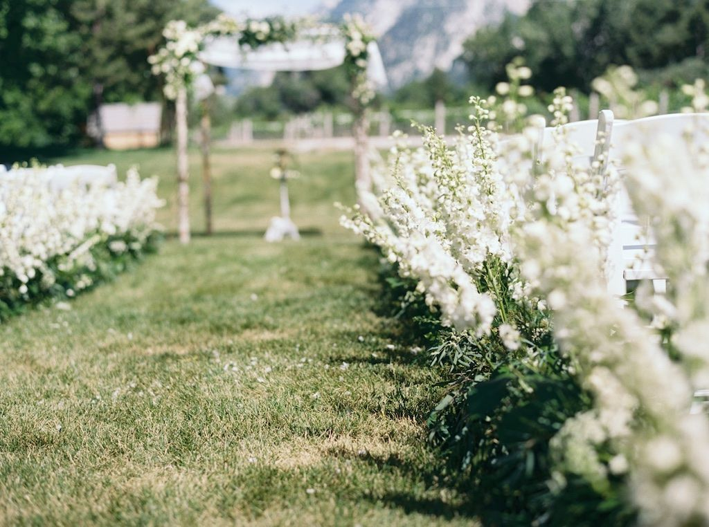 La Caille Utah Summer Wedding, Flowers Lining A Ceremony