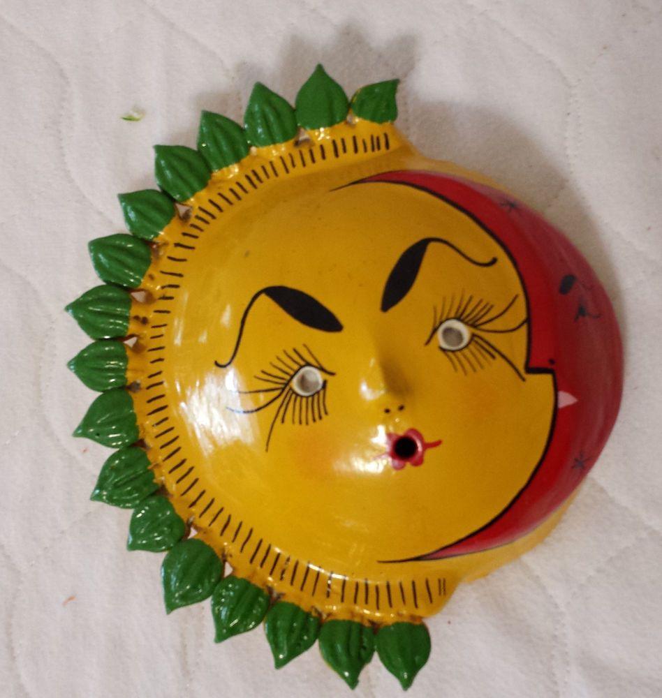 Vintage Mexican Folk Art Coconut Shell Face Mask Sun & Moon ...