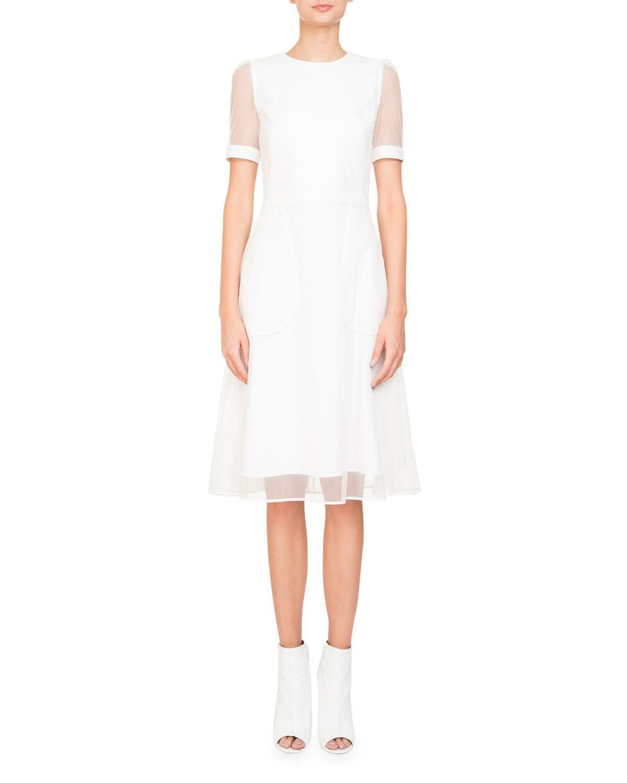 Givenchy Anna Short-Sleeve Cocktail Dress W/ Tulle Overlay