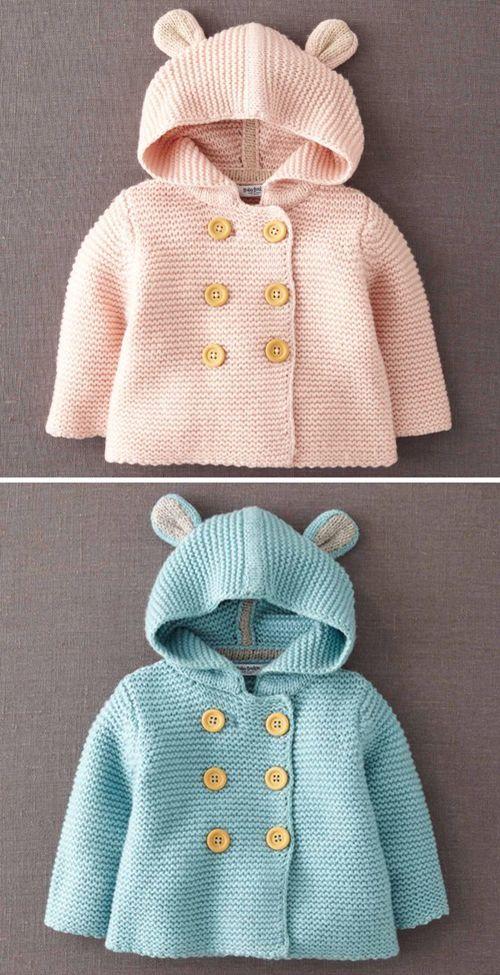 Veste à capuche boutonnée – Patron gratuit   – knitting
