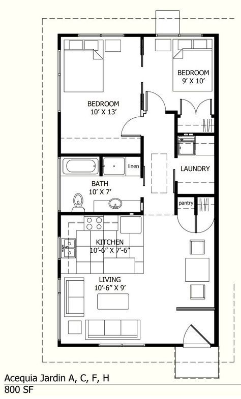 Small House Plans Under 800 Sq Ft Google Search Small House Layout House Floor Plans Cottage House Plans