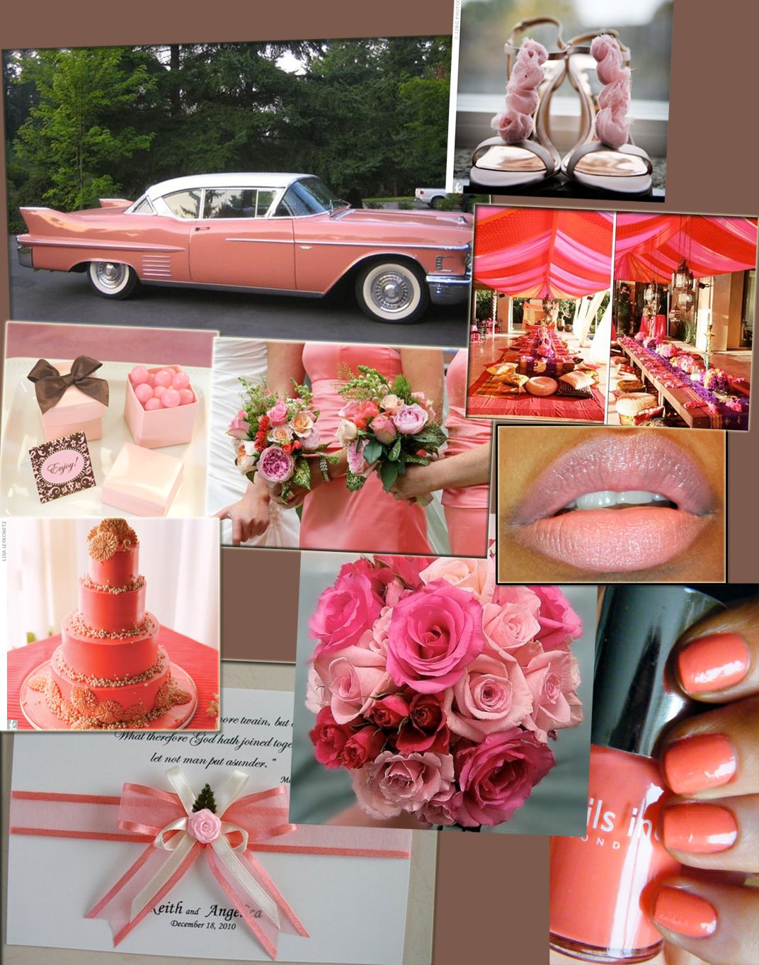 Coral Wedding Scheme Would Be Nice To Drive Away In A Classic Car