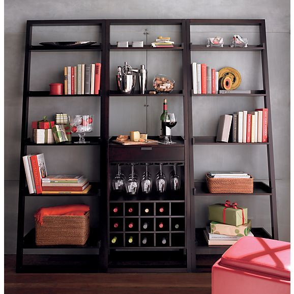 Sloane Espresso Leaning Wine Bar With 2 25 5 Quot Bookcases In