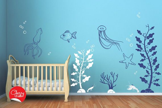 Deep Sea Wall Decals For Baby Nursery Underwater Themed Decor Squid Starfish Jellyfish Lobster Seaweed Seagr Decal Stickers 143 00 Via Etsy
