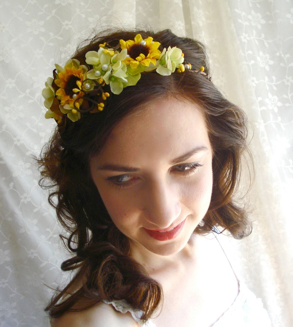 sunflower head wreath, yellow flower accessory, bridal hair piece