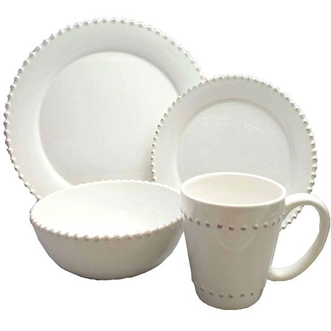 This Bianca bead dinnerware set by American Atelier features an elegant design. With a durable porcelain construction this dinnerware set will look great ...  sc 1 st  Pinterest & American Atelier Bianca Bead 16-piece Dinnerware Set - Overstock ...