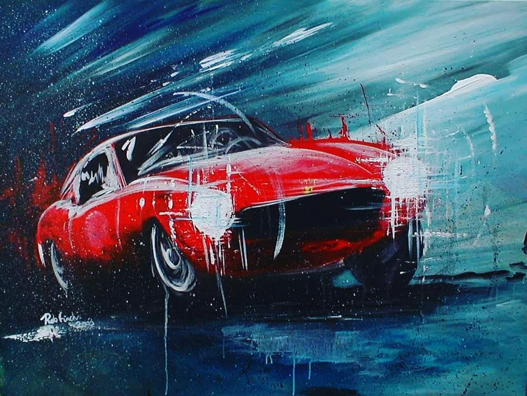 Acrylic On Canvas Early Work Ferrari Ferrari250swb Ferraris Prancinghorse Sportscar Abstrac Acrylic Painting Inspiration Abstract Artists Car Painting